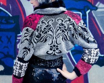 Japanese Fashion Harajuku Decora Girl KPop Kawaii Dark Mori Girl Patchwork Over-Sized Shrug by Janice Louise Miller
