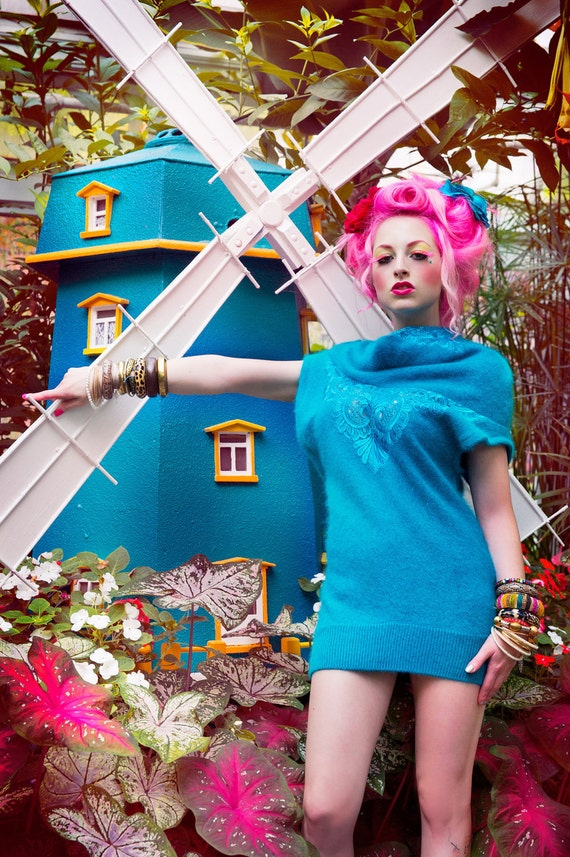 Harajuku Fashion Asymmetrical Sweater Dress Effie Trinket in Turquoise Angora by Janice Louise Miller