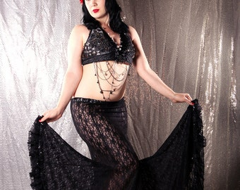 Long Lace Skirt, Black Lace Mermaid style. Sexy Gothic Victorian long flare fitted underskirt Belly Dance Small Medium Height