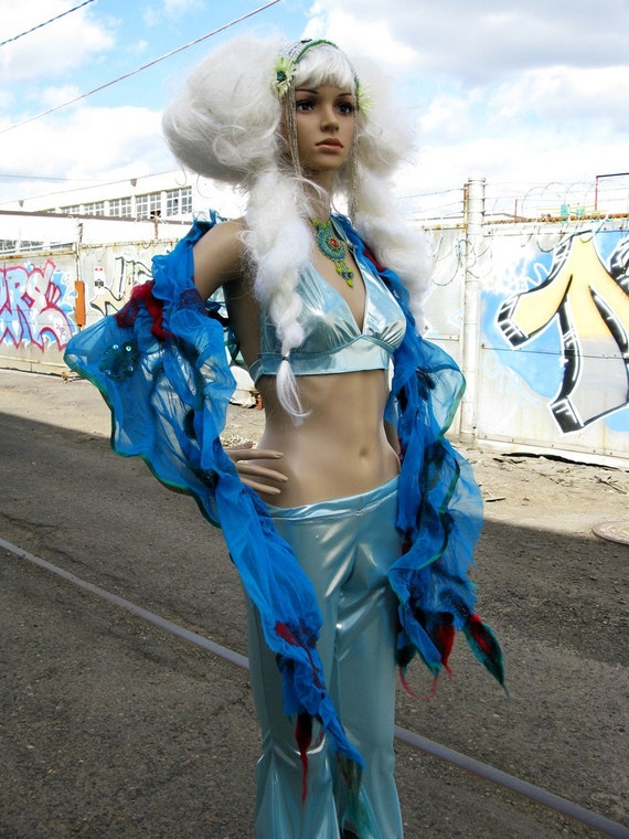 Snow Queen belly dance Pants Halter Top. beautiful ice silver blue color SALE