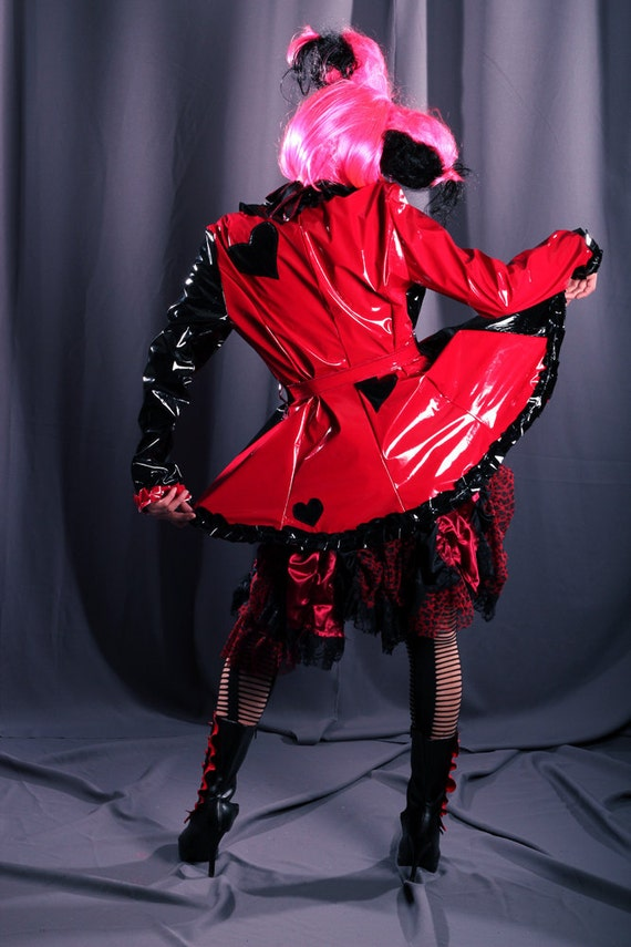 Sale. Gothic Raincoat Red Jacket Queen of Hearts Noir Couture Fashion super shiny red black vinyl Spring Fall coat Ladybug
