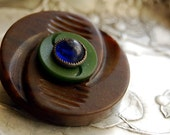 Reserved for Stephanie -- Vintage Button Brooch Gaia Eco Friendly Button Jewelry Brown Green Blue