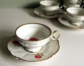 Vintage Cup and Saucer, Hutschenreuther Dundee Rose China Teacup Shabby Chic