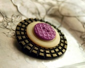 Reserved for Stephanie -- Vintage Button Brooch, Lavender Lattice Celluloid Button Jewelry Purple Brown