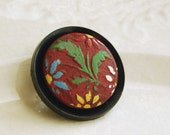Vintage Button Brooch Brick Red Marsala Burgundy Bouquet Wood Eco Friendly Jewelry Asian Style Flower Accessories Summer Fashion