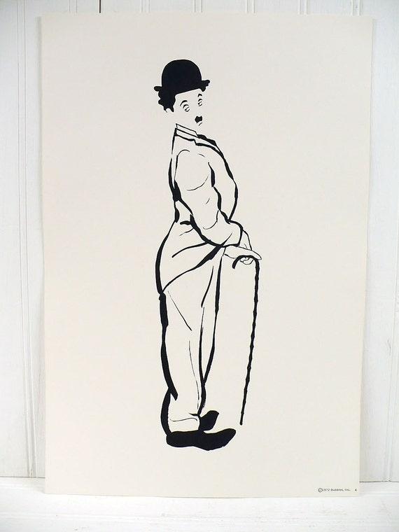 Vintage Charlie Chaplin Illustrated Poster Print Number 4