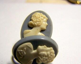 Vintage Blue Cameo Earrings