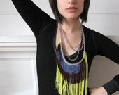 Fringe Necklace - Fluro Green, Burgundy and Denim, silver tone chain