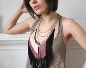Maximum Fringe Necklace - Black, Rose, Champagne