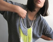 Fringe Necklace - White, Fluro, Grey and Silver