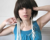 Fringe Earrings - Long - Champagne and Silver