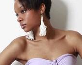 Nylon Fringe Tassel Earrings - Silver, Gold and White
