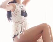 Cream Fringe & Lace - Sheer Tank Top - S, M, L
