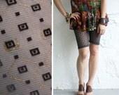 Bike Shorts - Charcoal Grey Mesh with Geometric Flocking and Metallic printing- S, M, L