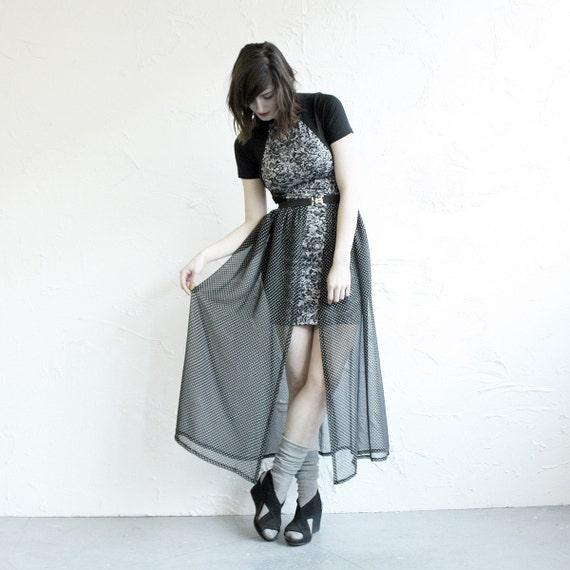 Chiffon Overskirt Belt - Black Polka Dot Chiffon with Black Elastic, Silver Buckle size L