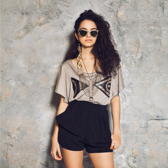 Leather Triangle Patch Slouchy Tee, Norwegian Wood