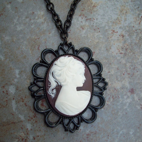 Deep Royalty Cameo Charm and Chain // Victorian Costume - Gifts for Women