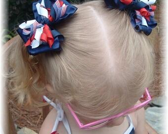 4th of July hair bows, patriotic hair bow, hair bows, pig tail bows, girls hair bows, girls hair clips, red white blue hair bows, hair clip