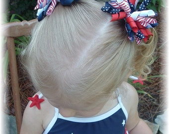 4th of july hair bow etsy