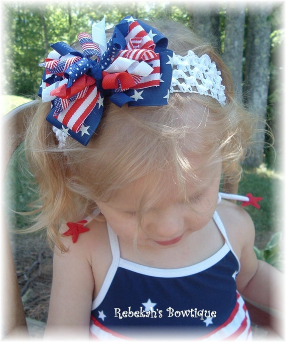 July 4th Hair Bow Headband Bowband Clip Red White Blue Stars Stripes Military Patriotic Infant Toddler Baby Girls Bows