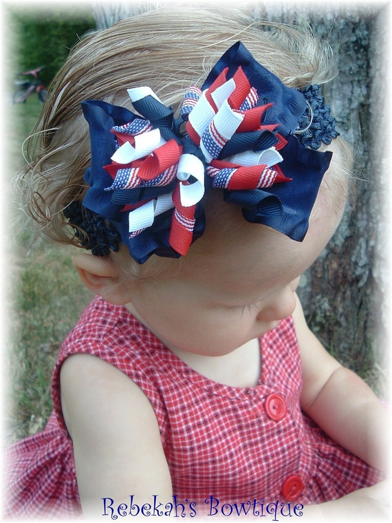 July 4th 4 Hair Bow Hairbow Headband Bowband Military Red White Blue Flag Stripes USA Infant Baby Toddler Girls Portrait Pageant Patriotic