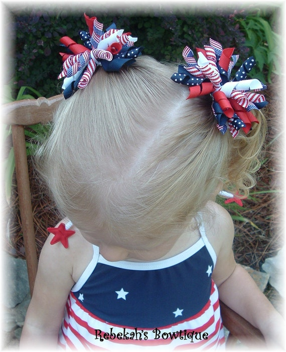 4th of July baby, 4th of July hair bow, red white blue hair bows, pig tails, military baby, pig tail bows, patriotic bows, patriotic baby
