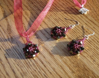 Crystal Hex Earrings and Pendant set