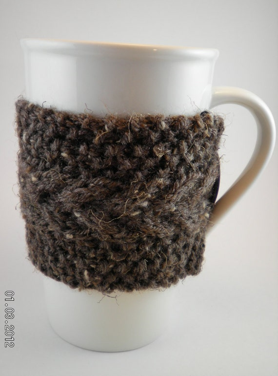 Cup Cozy Hand Knitted Reusable Coffee Sleeve Brown by mikknits