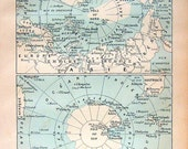 North and South Pole World Map Antique French Dictionary Book Plate 1908 Larousse
