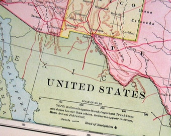 Map of the United States - 1898 Antique Map - World Atlas Book Page