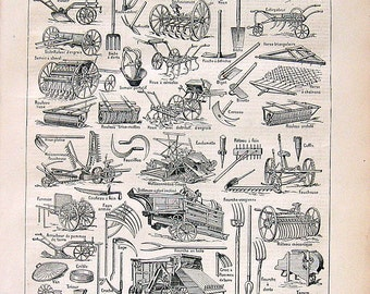 Agriculture Tools Implements Antique French Dictionary Book Plate 1908 Larousse