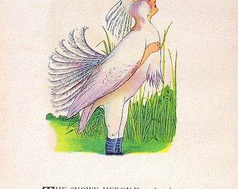 Partridge, Snowy Heron 1912 Antique Bird Children Book Plate 2 Sided