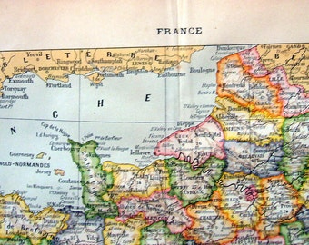 Large France Map 1908 Antique French Dictionary Book Plate Larousse
