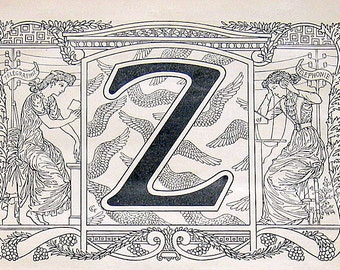 1908 Letter Z French Dictionary  Antique Book Page Larousse