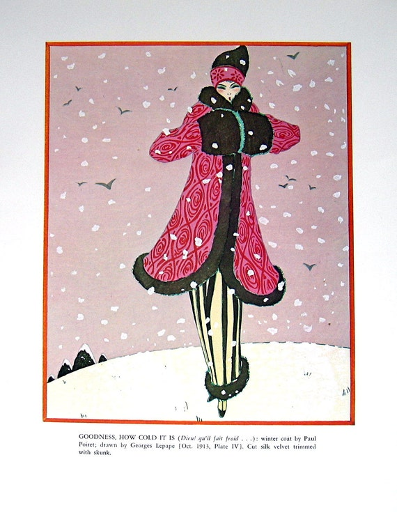 1900's French Fashion Styles 1979 Vintage Book Plate Winter Coat by Paul Poiret, Evening Wrap by Paul Poiret