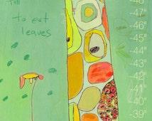 PERSONALIZED Grow Giraffe Canvas Growth Chart by Jennifer Mercede  42X12
