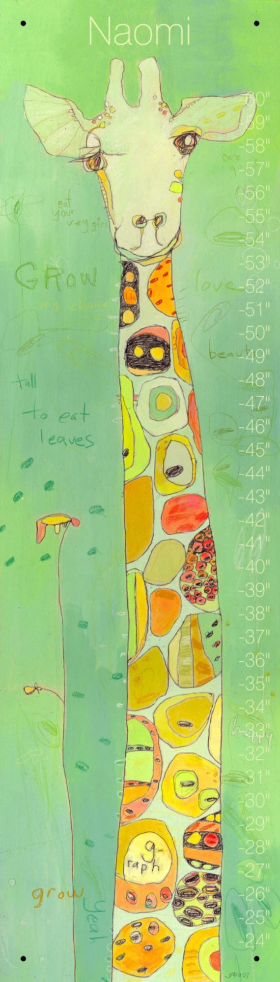 Grow Giraffe Canvas Growth Chart by Jennifer Mercede  42X12