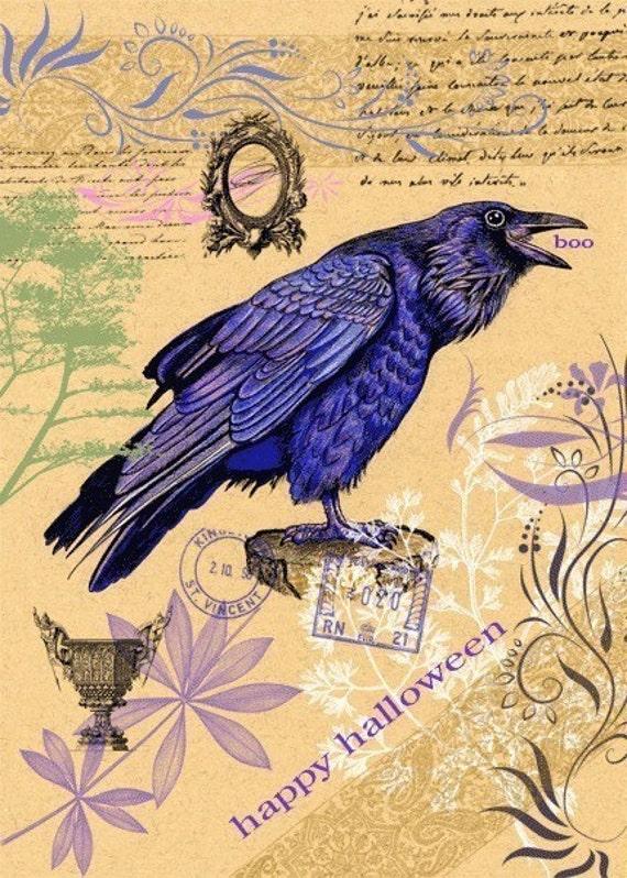 Halloween Card Raven Crow Blackbird 5 x 7 inches