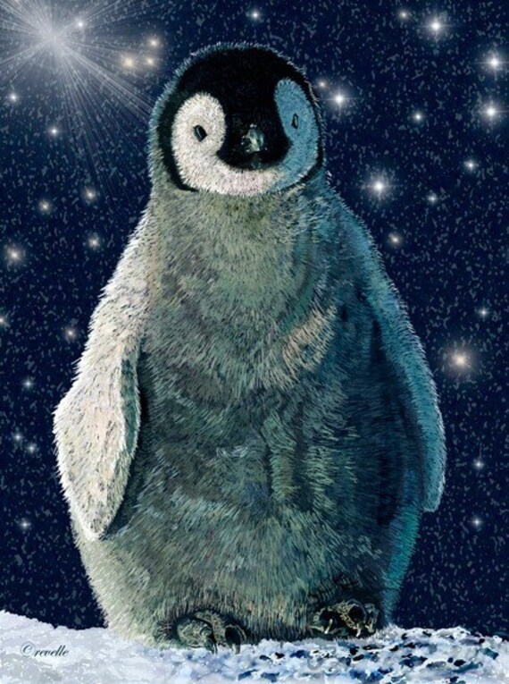 Art Print Penguin Baby 8 x 10 inches    Painted with a Wacom tablet