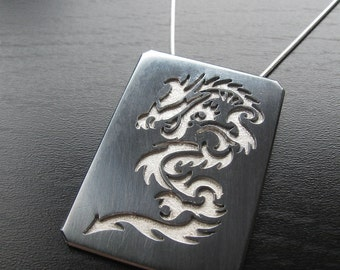 Sterling Silver Karate Inspired Dragon Pendant Black and Silver