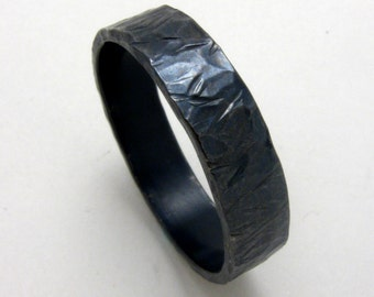 Oxidized Hammered Unisex Sterling Silver Band by Cristina Hurley