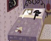 White Dog Black Dog Art Print - Purple n Gold Bedroom - Whimsical, Funny Dogs in Bed Artwork Decor