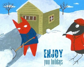 Funny Holiday Card Set - Set of 10 Christmas Cat n Crow Folk Art Cards - 5 Different Images