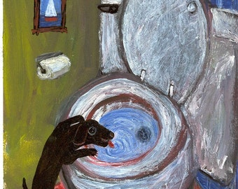 Black Dog Art Print - Lab Drinks Out of Toilet - Whimsical and Funny Bathroom Folk Art
