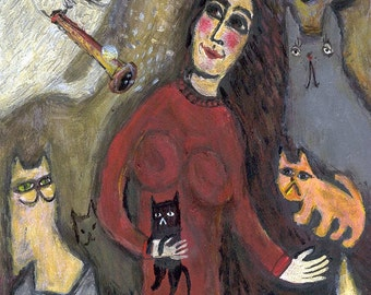 CAT Chagall Inspired Art Print - Girl with her CATS - Folk Art Animal Crazy Cat Lady 5x7 Illustration Rescue Cats Lover
