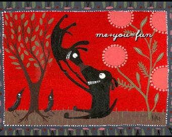 Black Dog Art Print with Red 8x10 - me plus you equals fun -  Valentines Day