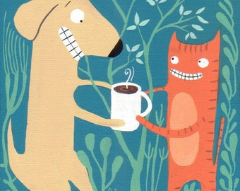 Cat Offers Dog Coffee ACEO Art Print - Aqua and Orange
