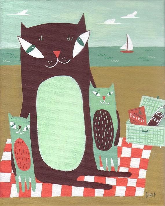 Cat ACEO Print - Cat Family At Beach - 3 Cats Art Trading Card Folk Art Animal Card
