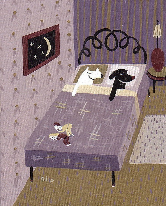 White Dog Black Dog Art Print - Purple n Gold Bedroom - Whimsical, Funny Dogs in Bed Artwork Decor