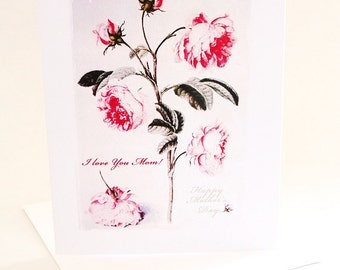 Beautiful Mother's Day Card I Love You Mom Classy Rose